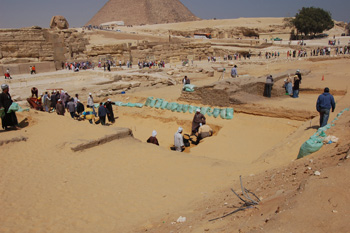View of excavation trench in front of Khafre's valley temple (Photo: SCA)