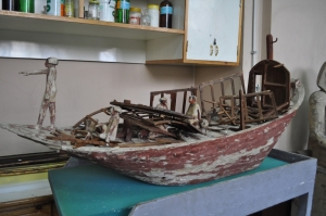 Damaged Middle Kingdom wooden boat model. (PHOTO: Stephanie Sakoutis)