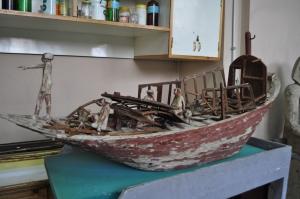 Damaged Middle Kingdom wooden boat model. (PHOTO: Stephanie Sakoutis)